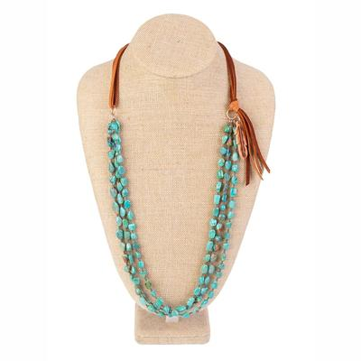 J. Forks Three Strand Kingman Turquoise Necklace