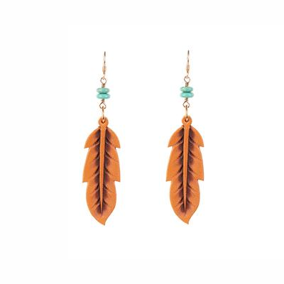J. Forks Leather Feather Earrings