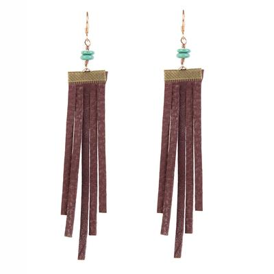 J. Forks Chocolate Leather Earrings