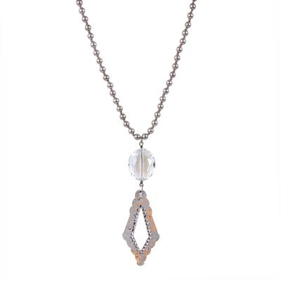 Pink Panache's Silver and Clear Diamond Pendant Necklace