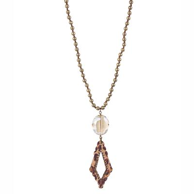 Pink Panache's Bronze and Leopard Crystal Necklace