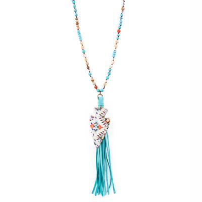Pink Panache's Turquoise and Agate Arrowhead Necklace
