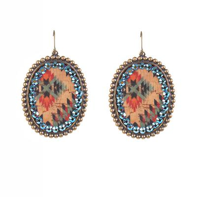 Pink Panache's Large Bronze Aztec and Crystal Earrings