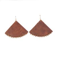 Plume Whiskey Brown Fan Earrings