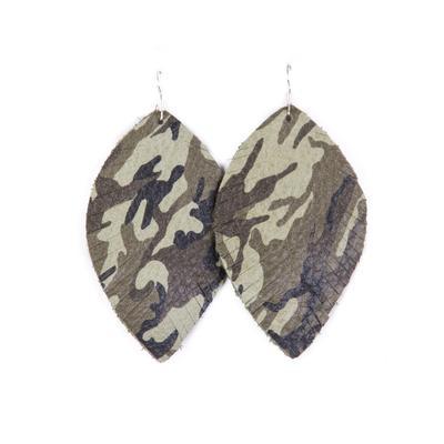 Plume Camo Big Feather Earrings