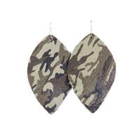Plume Camo Big Feather Earrings