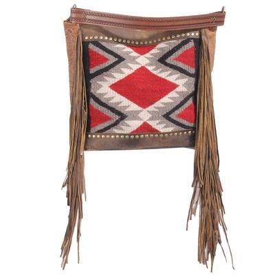 Aztec Leather Fringe Purse