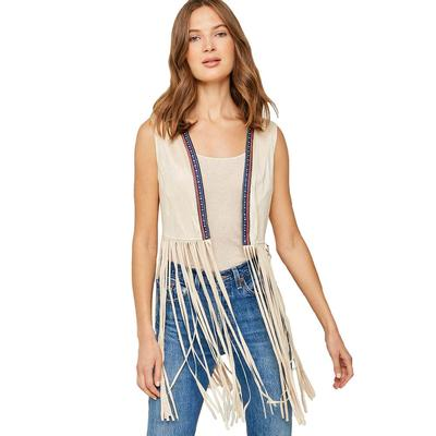 Hayden Women's Embroidered Cropped Fringe Vest