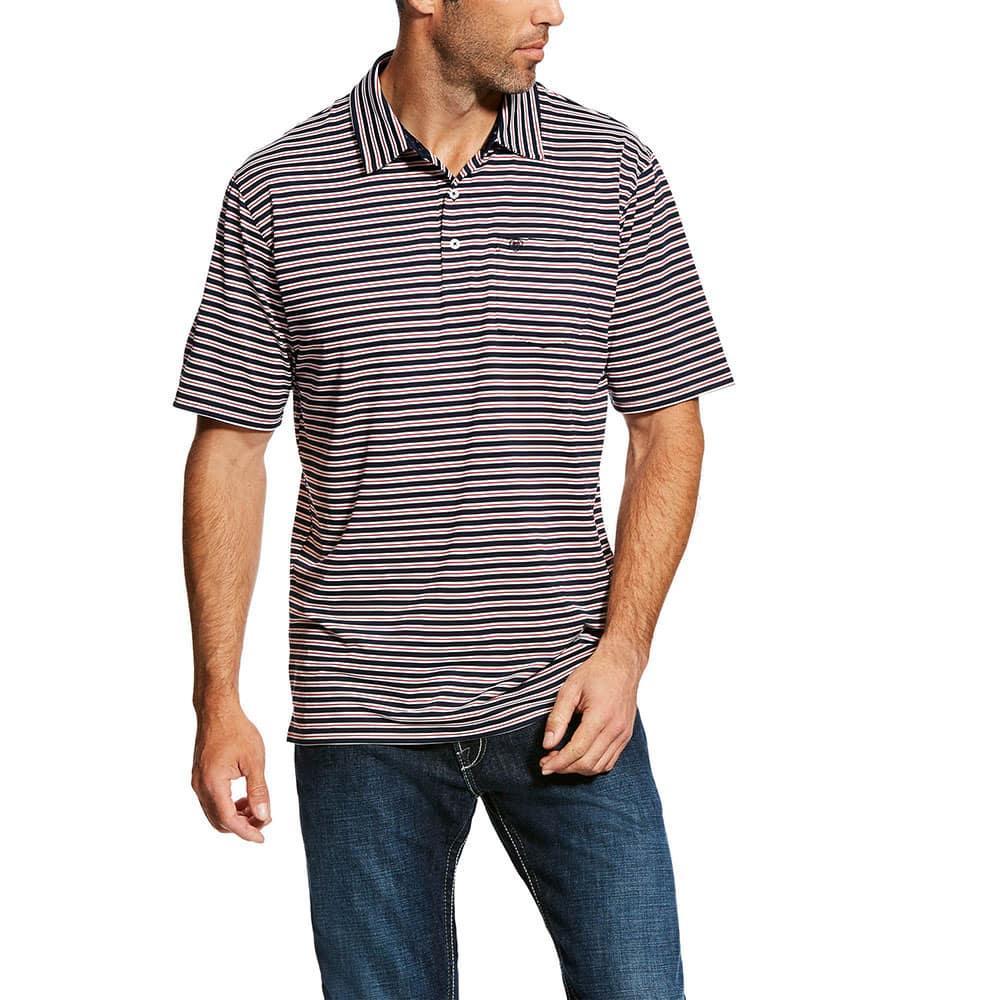 dbdb02cf Ariat Men's Navy Striped Spry Polo