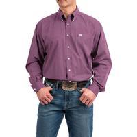 Cinch Men's Purple and White Geometric Print Shirt