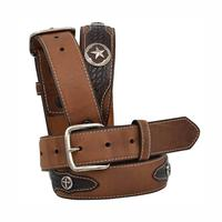 3D Boy's Brown Cross and Star Concho Belt
