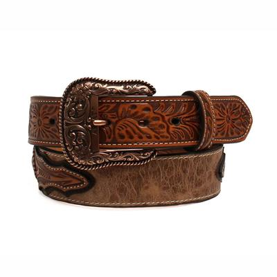 Ariat Men's M & F Western Ostrich Tooled Leather Belt