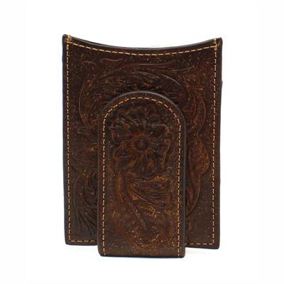 Ariat men's M&F Western Embossed Leather Money Clip Wallet