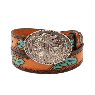Ariat Women's M & F Western Tooled Turquoise Feather Belt