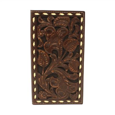 Ariat Men's M&F Western Chocolate and Ivory Rodeo Wallet
