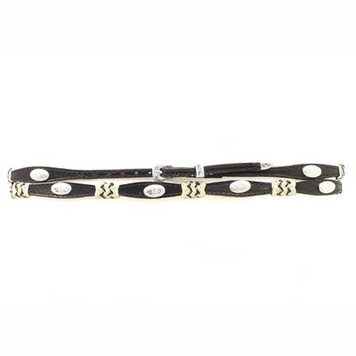 M&F Western Black Scalloped Leather and Rawhide Hatband