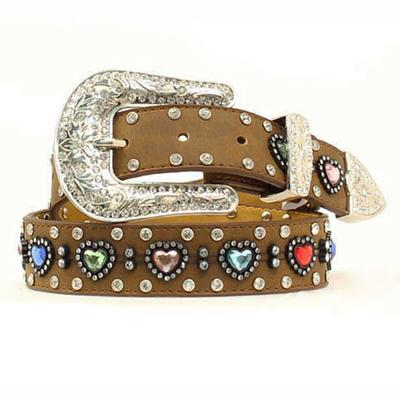 Nocona Girl's M&F Western Heart Rhinestone Belt