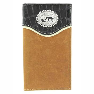 Nocona Men's M&F Western Black Croc Prayer Wallet