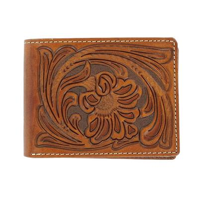 Nocona Men's M&F Western Floral Leather Tooled Wallet