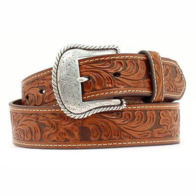 Nocona Men's M&F Western Tan Floral Tooled Leather Belt