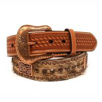 Nocona Men's M&F Western Tan and Copper Hair-On Belt