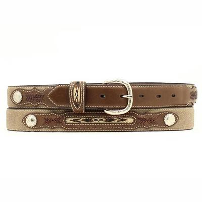 Nocona Boy's M&F Western Brown Fabric Inset Belt