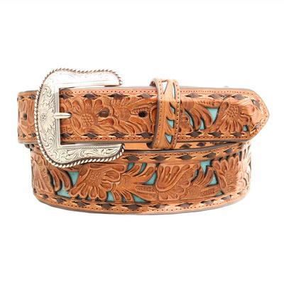 Nocona Men's Western Floral Tooled Inlay Belt