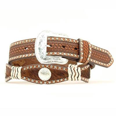 Nocona Men's M&F Western Basketweave Hair-On Belt