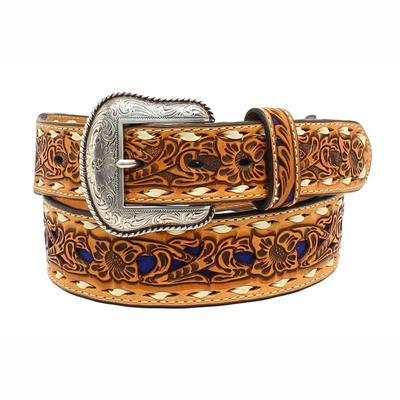 Nocona Men's M&F Western Tan and Blue Tooled Leather Belt