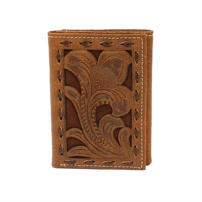 Nocona Men's M&F Western Chocolate Embossed Buck Laced Wallet