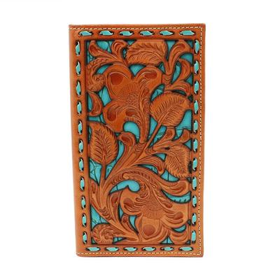 Nocona Men's M&F Western Tan and Turquoise Floral Tooled Leather Wallet