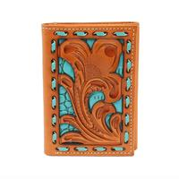 Nocona Men's M&F Western Tan and Turquoise Tooled Wallet