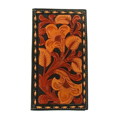 Nocona Men's M&F Western Black and Tan Embossed Rodeo Wallet