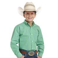 Panhandle Slim Boy's Green Striped Shirt