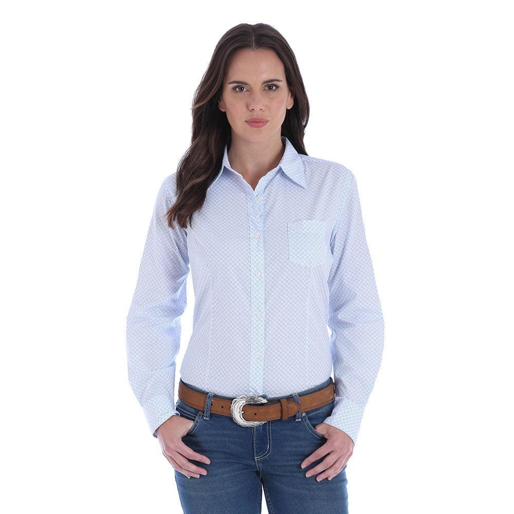 5eeb01d53 Wrangler Women's Top Wrangler Women's Light Blue George Strait Geo Print  Shirt