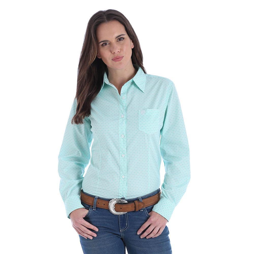 196d7028a Wrangler Women's Top Wrangler Women's Green And White George Strait Geo  Print Shirt