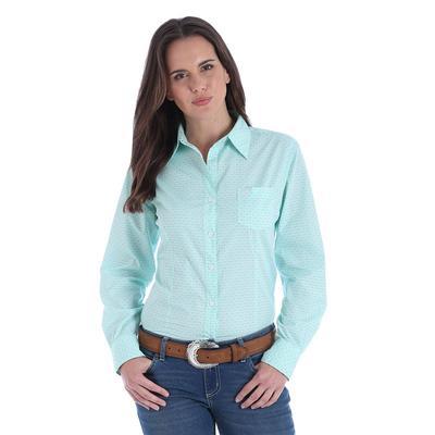 Wrangler Women's Green and White George Strait Geo Print Shirt