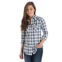 Wrangler Women's Blue and Cream Plaid Shirt