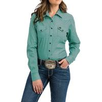 Cinch Women's  Teal and Black Geometric Print Shirt