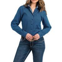 Cinch Women's Royal Blue and Black Geometric Print Shirt
