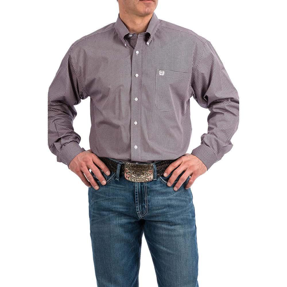 Cinch Mens Lavender And Black Dot Print Long Sleeve Shirt