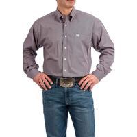 Cinch Men's Lavender and Black Dot Print Long Sleeve Shirt