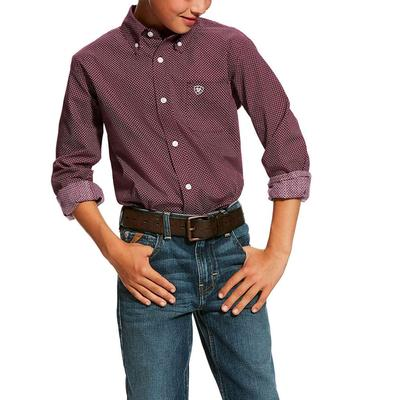 Ariat Boy's Purple Dahlia Dalazar Print Shirt