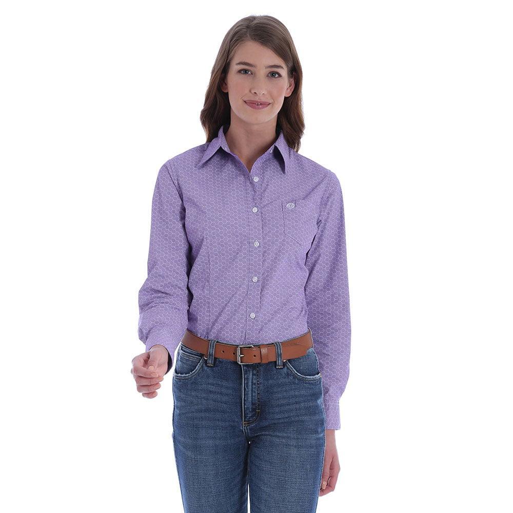 acf9e9a3e Wrangler Women's Top Wrangler Women's Purple Geometric Print George Strait  Shirt