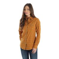 Wrangler Women's Gold and Turquoise Snap Shirt