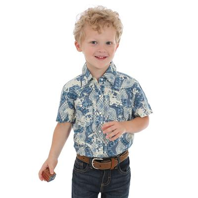 Wrangler Toddler Boy's Blue Aztec Print Shirt