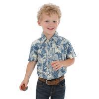Wrangler Toddler Boy's Blue Aztec Print Shirt