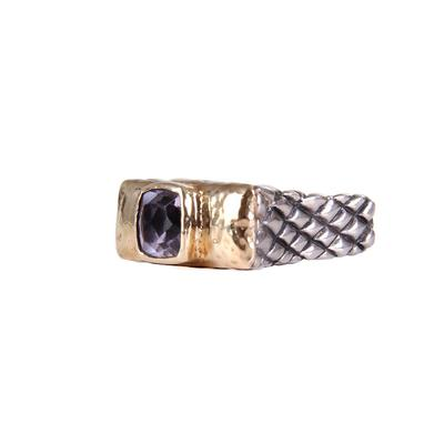 Dian Malouf's Diego Gold Bar Ring With Purple Stone