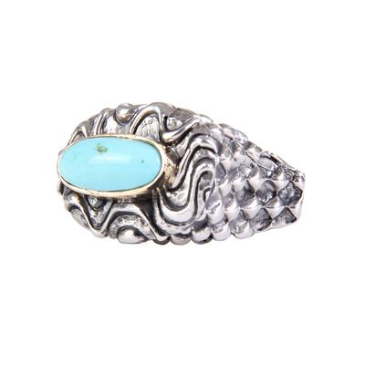 Dian Malouf's Silver Harlequine Ring With Kingman Turquoise Stone