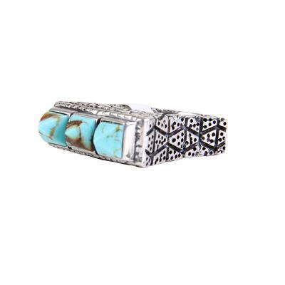 Dian Malouf's Three Pyramid Stones Kingman Turquoise Ring